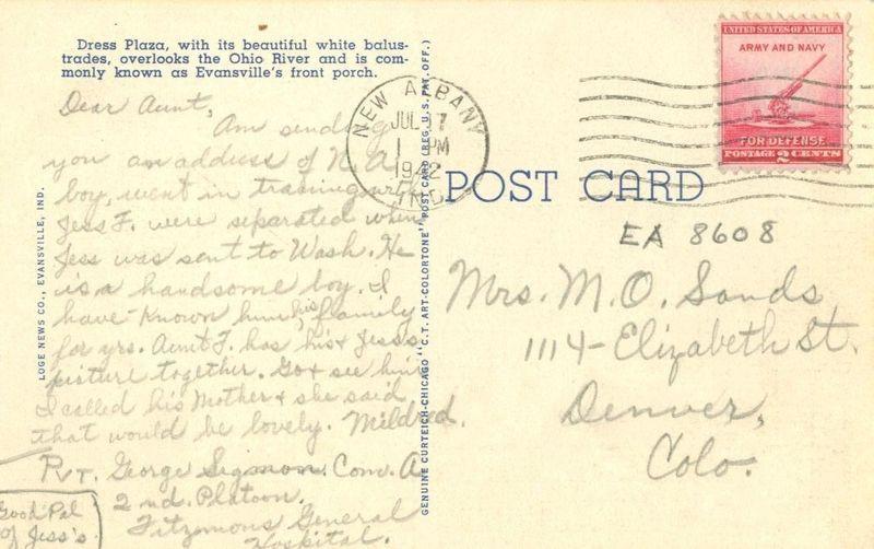 Dress Plaza, Evansville, Indiana 1942 used linen Postcard