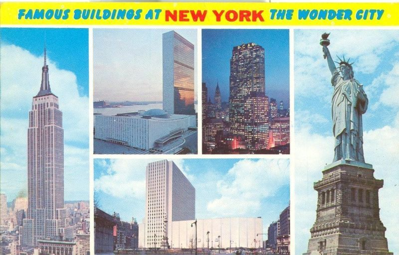 Famous Buildings at New York, unused Postcard