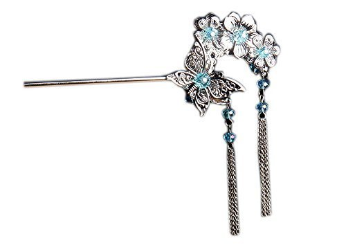 Crystal Blue Butterfly Hairpin Dangling Hair Stick