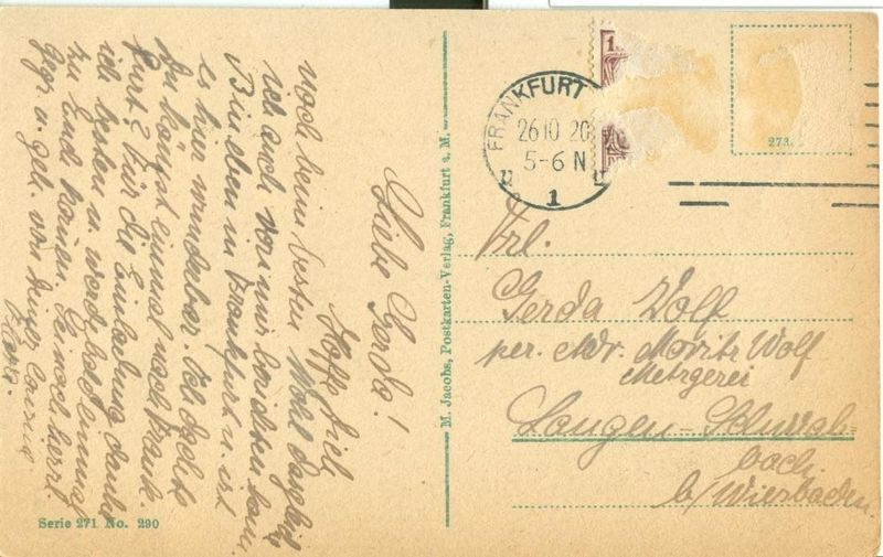 Germany, Frankfurt  a. M. Hinter dem Lamchen, kum mohrenkopf used Postcard