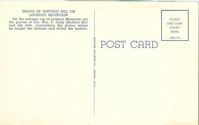 Grave of Buffalo Bill, on Lookout Mountain, Colorado unused linen Postcard