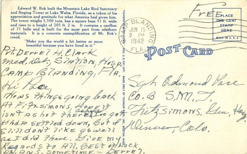 Greetings from Florida, The Sunshine State 1942 used linen Postcard