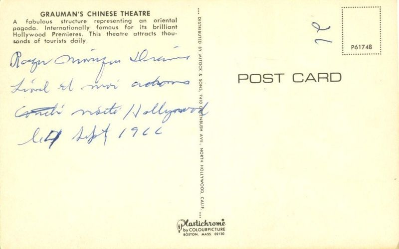 Greetings from Grauman's Chinese Theatre 1960s used Postcard