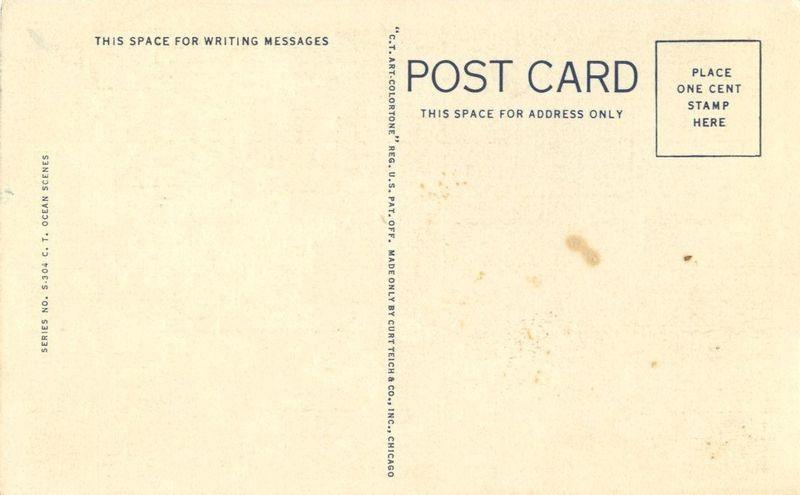 Greetings from Long Beach, Washington, unused linen Postcard