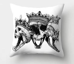 "Werewolves Queen & King Skulls in Crowns 18"" X 18"" Pillow CASE Halloween... - $12.99"
