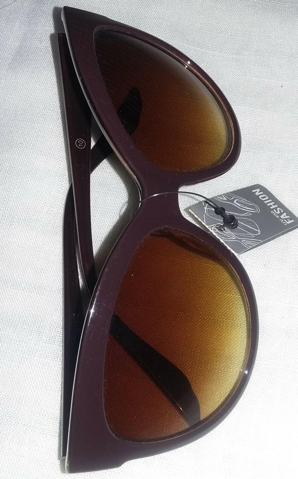 Foster Grant Niki Chrome Metal Frame Woman's Round Cateye Sunglasses Brown Lens