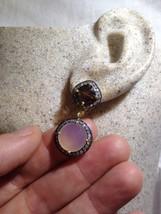 Vintage Real Rose Quartz Genuine Topaz 925 Sterling Silver Chandelier Ea... - $106.92