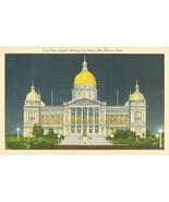 Iowa State Capitol by Night, Des Moines, Iowa, unused linen Postcard  - $3.99