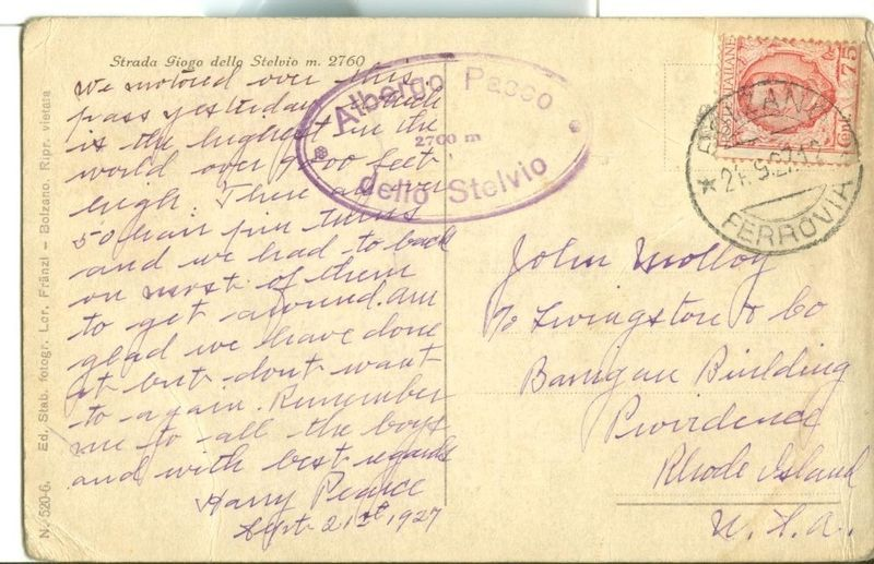 Italy, Strada Giogo dello Stelvio m. 2760 1927 used Postcard