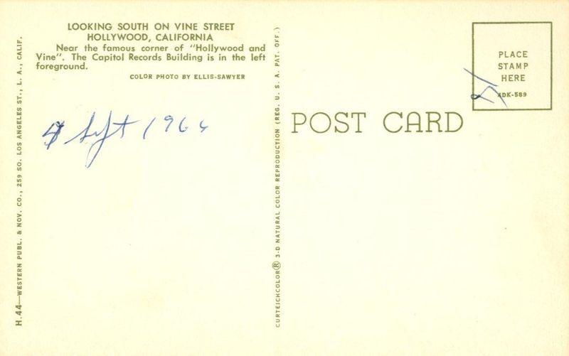 Looking south on Vine Street, Hollywood, California 1964 unused Postcard
