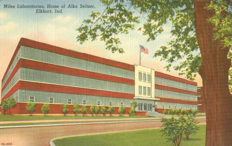 Miles Laboratories, Home of Alka Seltzer, Elkhart, Indiana unused linen Postcard