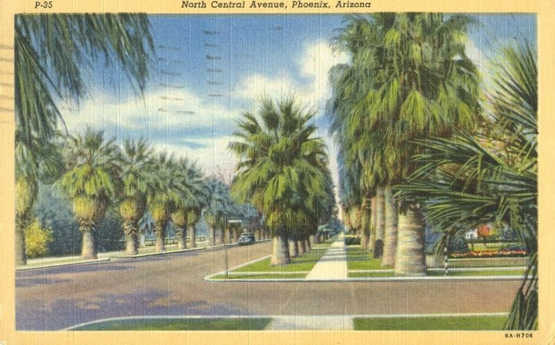 North Central Avenue, Phoenix, Arizona, 1945 used Postcard
