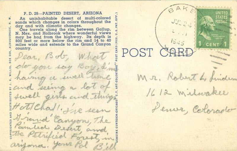 Painted Desert, Arizona 1945 used Postcard