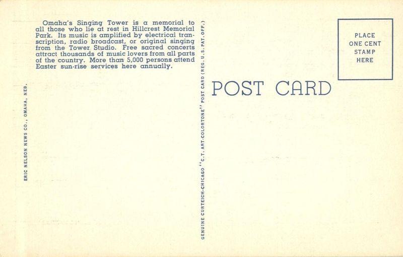 Singing Tower, Omaha, Nebraska, unused linen Postcard