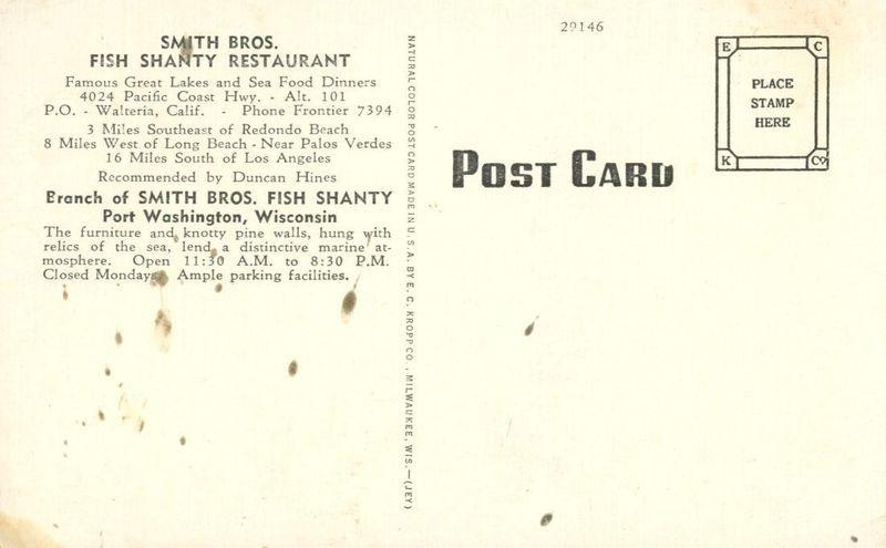 Smith Bros. Fish Shanty Restaurant, Port Washington, Wisconsin, unused Postcard