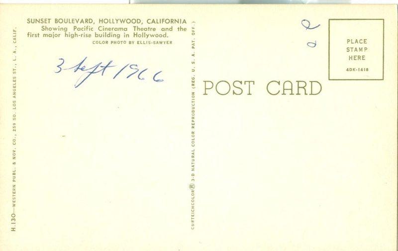 Sunset Boulevard, Hollywood, California 1960s unused Postcard