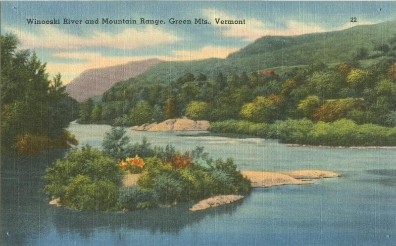 Winooski River and Mountain Range, Green Mts. Vermont, unused linen Postcard