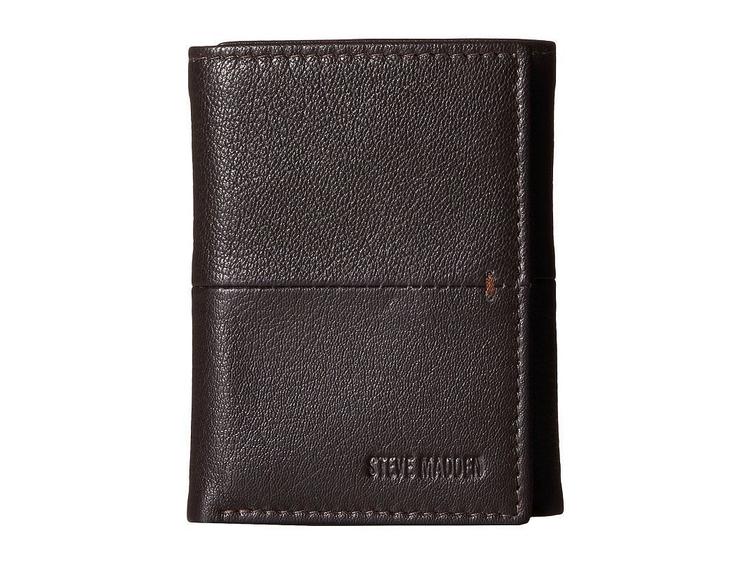 NEW STEVE MADDEN MEN'S PREMIUM LEATHER TRIFOLD ID WALLET BROWN N80028/01
