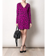 DIANE von FURSTENBERG REINA LITTLE LEAVES MEDIUM ORCHID DRESS - US 14 - ... - $140.80