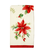 Christmas Holiday Poinsettia Red Winter Finger Tip  Towel - $13.99