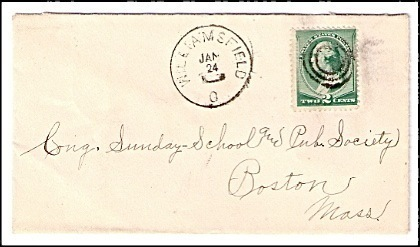 c1885 Williamsfield OH Vintage Post Office Postal Cover