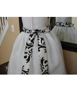 White Flower Girl Dress with Black White Damask Sash - $69.99