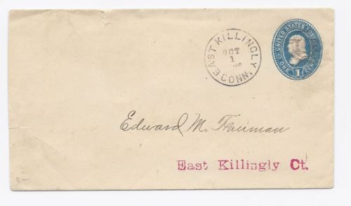 c1880 East Killingly CT Vintage Post Office Postal Cover