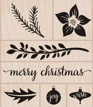 Merry Christmas Rubber Stamp Set of 7 New Tree Trimmings Wood Mounted He... - $15.83