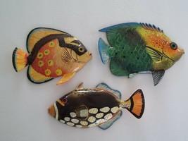 Set 3 Tropical Fish Wall PlaqueTiki Bar Beach Pool Nautical Decor TFW3M - $25.99