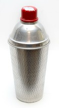 Vintage Large Art Deco Tin Silver Cocktail Shaker Red Lid - $22.76