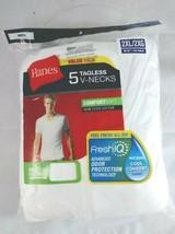 Men's Hanes 5pk V-Neck T-shirts (Size 2XL) White, Tagless: ComfortSoft - £18.12 GBP
