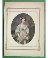 LOVELY MAIDEN Broken Pitcher - Antique Print by GREUZE Original - $10.12