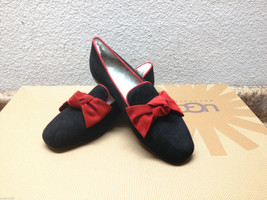 Ugg Italian Collection Lunetta Black With Red Bow Shoe Us 7 Eu 38 / Uk 5.5 - $120.62