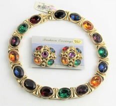 80s ESTATE VINTAGE Jewelry HIGH END NOS BIG GEM STATEMENT NECKLACE EARRI... - $95.00
