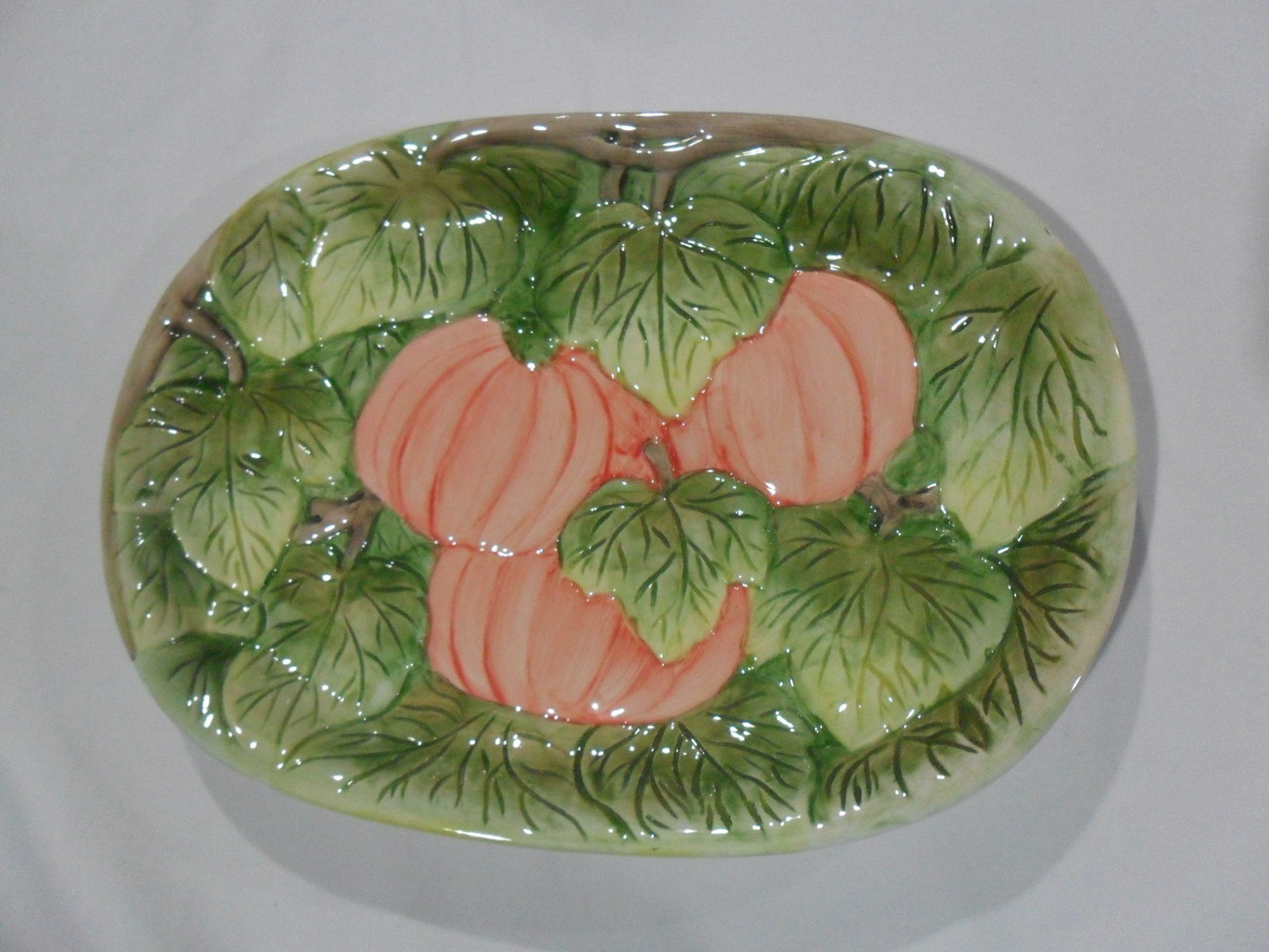 Primary image for 1993 PUMPKIN PLATE Orange,  Green Earthenware  New In Box!