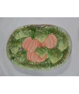 1993 PUMPKIN PLATE Orange,  Green Earthenware  New In Box!  - $11.90