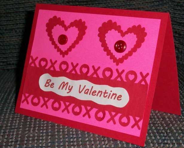 Be My Valentine Hugs and Kisses blank 4.25x5.5 handmade note card A2