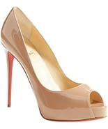 Christian Louboutin Prive Peep Toe Pumps Shoes Nude Beige Patent Leather 38 - $399.99