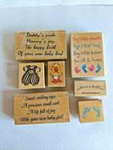 Stamp Bundle Lot New Baby Shower Expecting Baby Boy Girl Rubber Wood - $14.84