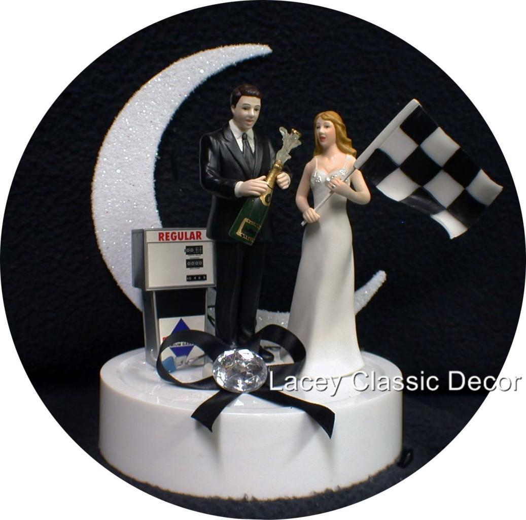 Racing Fan Wedding Cake Topper NasCar Groom Bride Flag