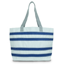 Stripe tote, Nautical tote, Beach shopper, Canvas shopper bag, Vegan bea... - $99.00