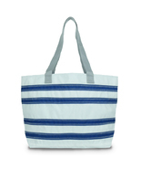 Stripe tote, Nautical tote, Beach shopper, Canvas shopper bag, Vegan bea... - $128.55 CAD
