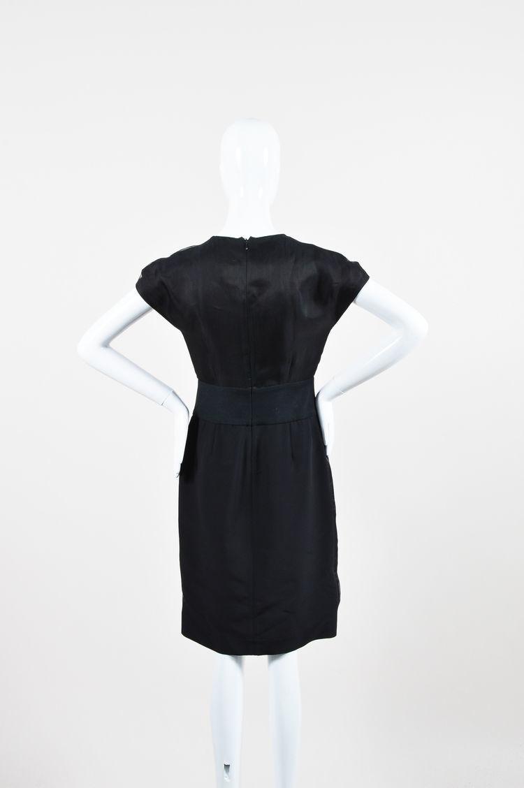 Fendi Black and Green Silk Blend Fox Fur Panel Embellished SS Dress SZ 42 image 3