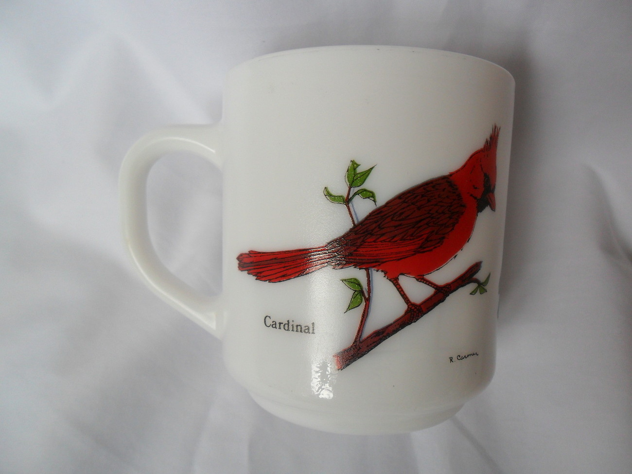 Primary image for Vintage Milk Glass Coffee/Tea Cup-Mug France with Birds Cardinal, Blue Jay