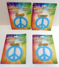 Lot of 4 Blue Plastic Hippie Peace Sign Necklace Costume Jewelry Accessory - $3.95