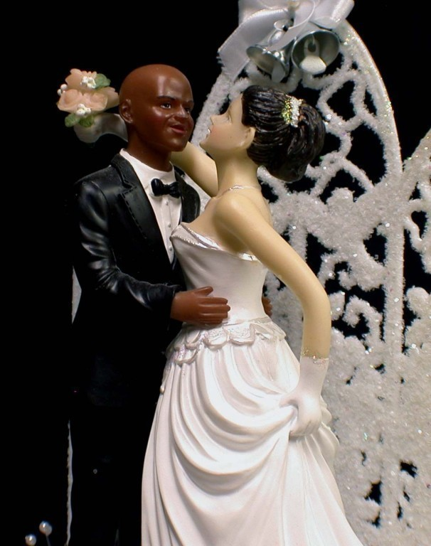 Black BALD Groom  PICK your Bride WEDDING cake Topper