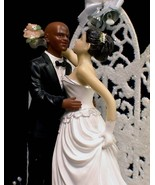 Black BALD Groom  PICK your Bride WEDDING cake Topper - $53.25
