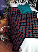 Z420 Crochet PATTERN ONLY Quilted Pansies Afghan Throw Pansy Pattern - $7.50