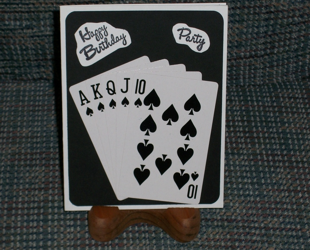 Primary image for Happy Birthday Deal Winning Hand Spades message 4.25x5.5 handmade note card A2