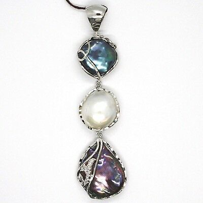 925 Sterling Silver, Three Pearls Baroque Disc Drop Zirconia Made in Italy